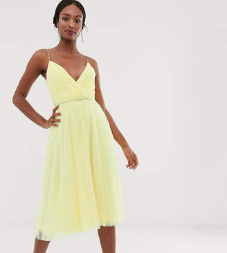 Asos Tall DESIGN Tall belted pleated tulle cami midi dress