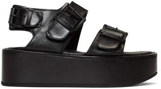 Ann Demeulemeester Black Leather Strap Sandals