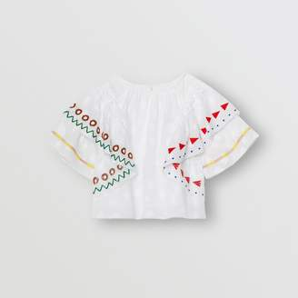Burberry Ruffle Detail Embroidered Fil Coupe Cotton Top