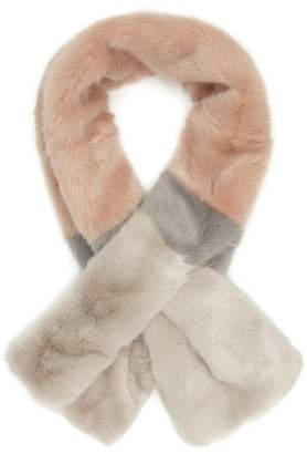 Reiss Our last order date for Christmas has now passed MERCI STRIPE FAUX FUR SCARF Blush/grey