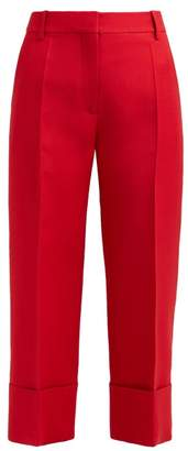 Valentino Virgin Wool Blend Cropped Trousers - Womens - Red