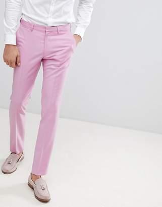 Asos DESIGN Wedding Skinny Suit Pants In Pink 100% Wool