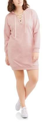 POOF Juniors' Plus Long Sleeve Lace Up Hooded Sweatshirt Dress