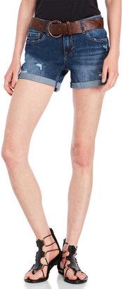 dollhouse Belted Denim Boyfriend Shorts $36 thestylecure.com