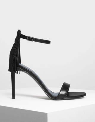 Charles & Keith Beaded Fringe Heeled Sandals
