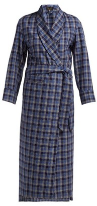Emma Willis - Checked Cotton Robe - Womens - Blue Multi