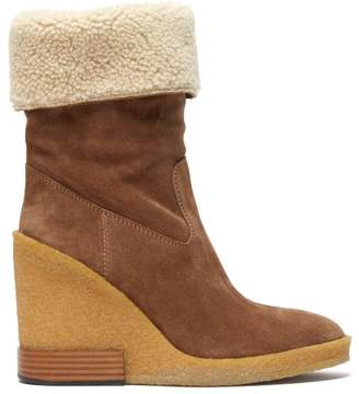 Tod's Shearling Lined Suede Wedge Boots - Womens - Light Brown
