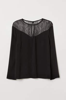 H&M H&M+ Top with Lace Yoke - Black
