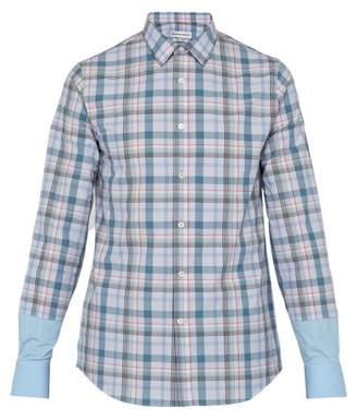 Alexander McQueen Contrast Cuff Checked Cotton Poplin Shirt - Mens - Blue Multi
