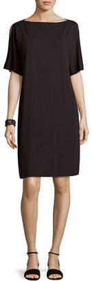 Eileen Fisher Split-Sleeve Jersey Shift Dress $198 thestylecure.com