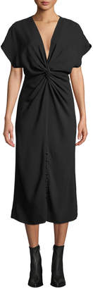 Prabal Gurung Cap-Sleeve Twisted-Front Cady Midi Dress