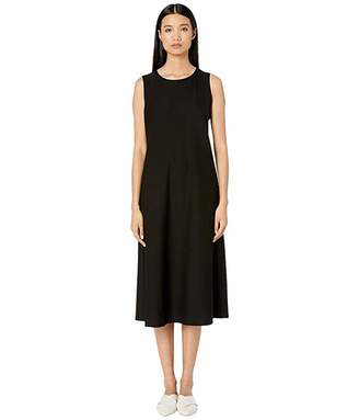 Eileen Fisher Lightweight Washable Stretch Crepe Round Neck Calf Length Dress