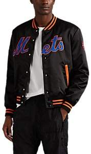 Marcelo Burlon County of Milan Men's NY MetsTM Tech-Satin Varsity Jacket - Black