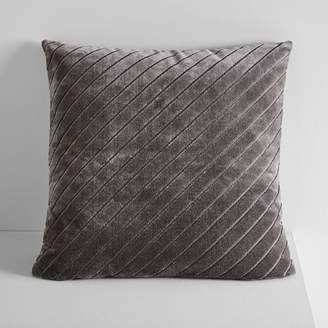 west elm Diagonal Stripe Velvet Pillow Cover - Slate