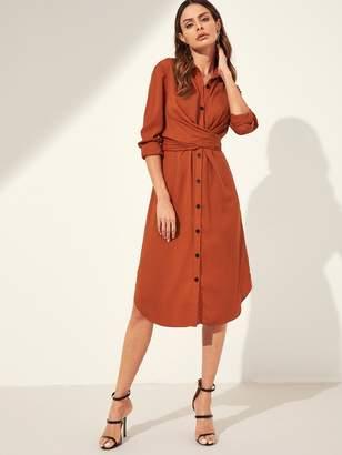 Shein Button Through Self Tie Shirt Dress
