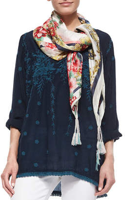 Johnny Was Jasper Printed Silk Square Scarf $95 thestylecure.com