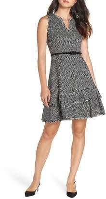 Eliza J Ruffle Fit & Flare Tweed Dress
