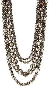 Kenneth Jay Lane Women's Five Row Smokey Grey Beaded Necklace