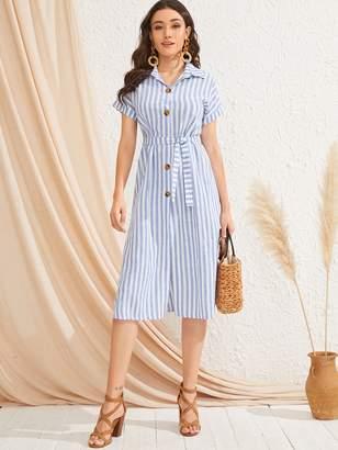 Shein Rolled Cuff Striped Button Shirt Dress