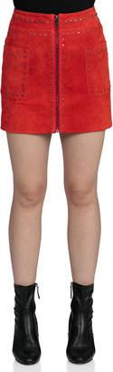 Bagatelle Stud-Trim Suede Mini Skirt, Crimson