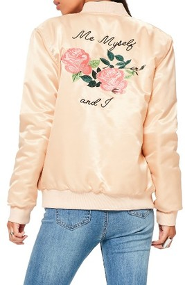 Women's Missguided Me Myself And I Bomber Jacket $103 thestylecure.com