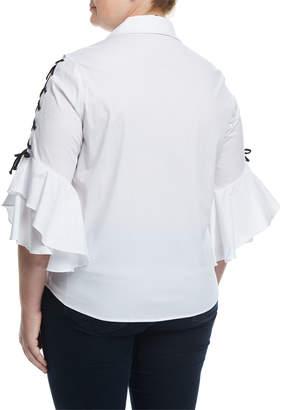 Lea & Viola Plus Lace-Up Sleeve Poplin Shirt, Plus Size