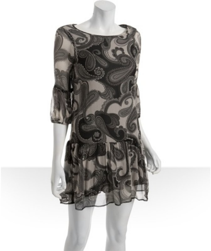 Ella Moss black paisley silk 'Heloise' dress
