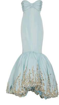 Elizabeth Kennedy Embroidered Silk-Satin Mermaid Gown