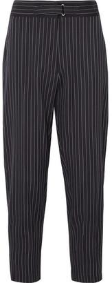 Stella McCartney Cropped Pinstriped Wool-blend Twill Slim-leg Pants - Midnight blue