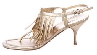 Prada Metallic Fringe Sandals