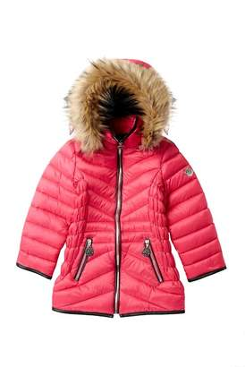 DKNY Faux Fur Trimmed Bubble Jacket (Little Girls)