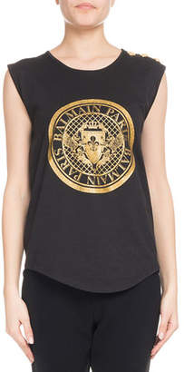 Balmain Sleeveless Glitter Coin Logo 3-Button Top