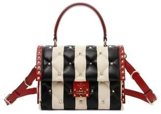 Valentino Tricolor Candystud Stripe Leather Handbag