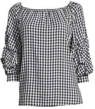 John Paul Richard JohnPaulRichard Women's Gingham Tiered Sleeve Blouse