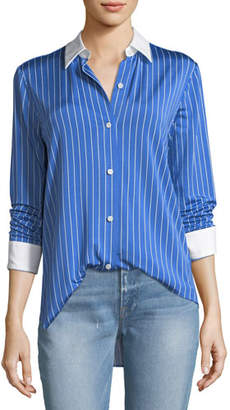 Theory Essential Button-Down Jersey Striped Blouse