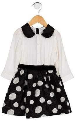 Alice + Olivia Girls' Silk Polka Dot A-Line Dress