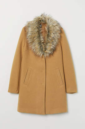 H&M Coat with Faux Fur Collar - Beige