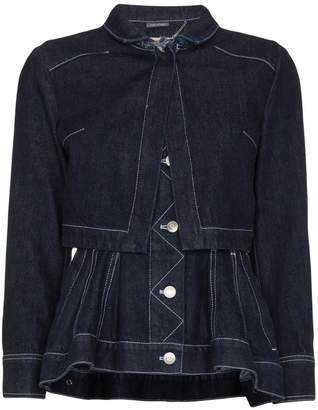 Alexander McQueen Layered denim jacket with peplum