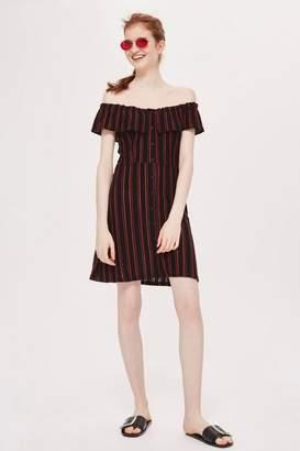 Topshop Striped Frill Bardot Dress