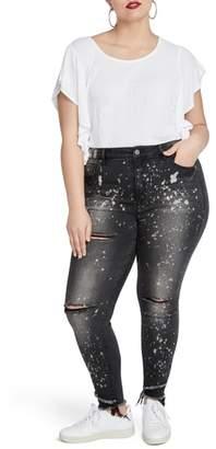 Rachel Roy Paint Splatter Ripped Skinny Jeans