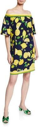 Trina Turk Kelso Lemon-Print Off-the-Shoulder Shift Dress