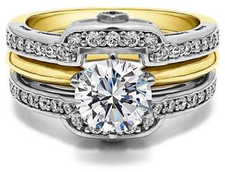 TwoBirch 2 Piece Bridal Set Includes: Guard and 1 Ct Solitaire ,Cubic Zirconia mounted in Sterling Silver. (1.49ctw)