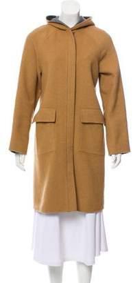 Halston Hooded Wool-Blend Coat