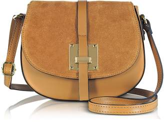 Le Parmentier Pollia Caramel Leather and Suede Crossbody Bag
