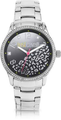 Just Cavalli Huge JC 3H Black Dial Silver Stainless Steel Women's Watch