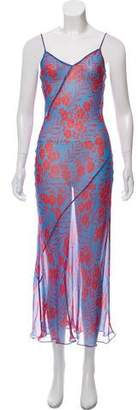 Diane von Furstenberg Silk Semi-Sheer Sleeveless Printed Maxi Dress