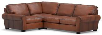 Pottery Barn Turner Roll Arm Leather 3-Piece Sectional with Corner