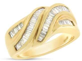 14k Yellow Gold 0.50ct. Baguette-Cut Diamond Fancy Swirl Twisted Ring Size 7