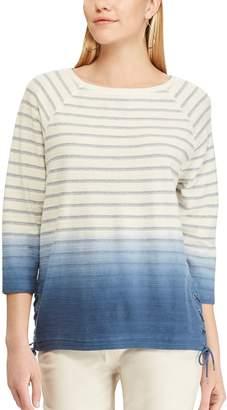 Chaps Women's Dip-Dye Striped Lace-Up Hem Top