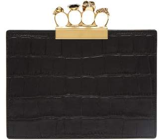 6ea9ae86e3 Alexander McQueen Knuckle Crocodile Effect Leather Clutch - Womens - Black